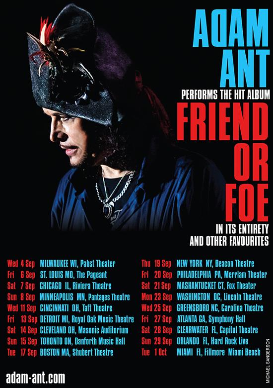 Adam Ant Us Tour 2020 adam ant.net